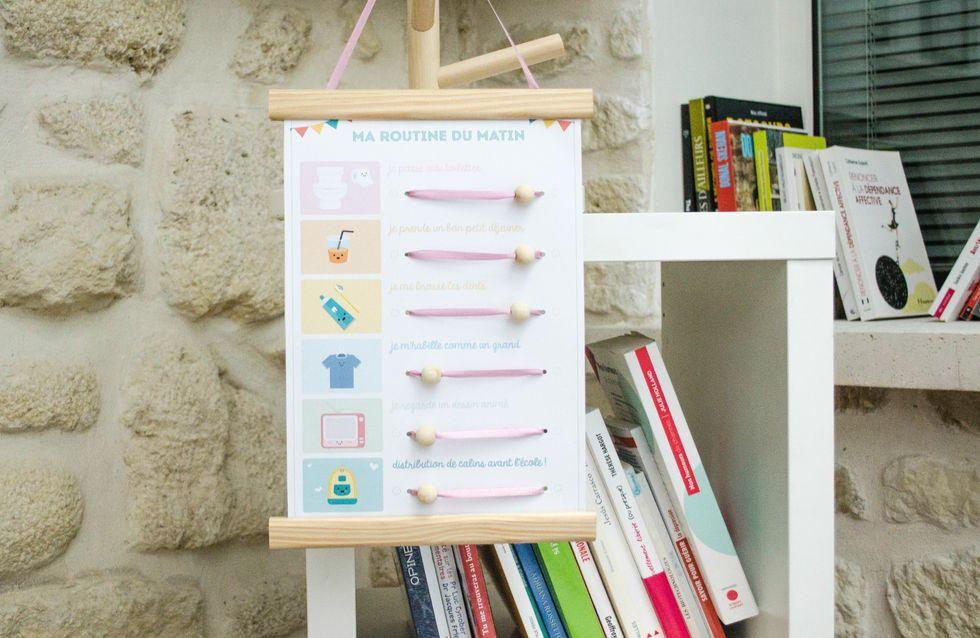 faire une demande à son enfant - tableau des routines DIY